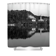 View Across Lake Bled In Black And White Shower Curtain