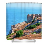 View Far Out To Sea From Alanya Castle Shower Curtain