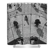 View From A Church Tower Monochrome Shower Curtain