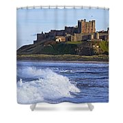 View From Ocean Of Bamburgh Castle Shower Curtain