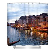 View From Rialto Bridge Of Venice By Night. Shower Curtain