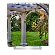 View From The Garden Way Shower Curtain