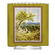 View From The Hill On The Village Below. P B With Decorative Ornate Printed Frame. Shower Curtain