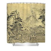 View From The Keyin Pavilion On Paradise - Baojie Mountain Shower Curtain by Wang Wen