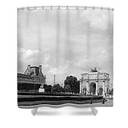View From The Louvre In Black And White Shower Curtain