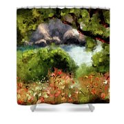 View From The Terrace - Paleokastritsa  Shower Curtain