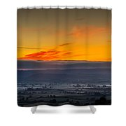 View From The Top Of Glastonbury Tor At Sunrise Shower Curtain