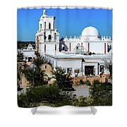 View From Tthe Hill - San Xavier Mission - Tucson Arizona Shower Curtain