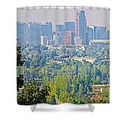 View From Wealthy Neighborhood In Hills Of Santiago-chile Shower Curtain