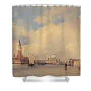 View In Venice With San Giorgio Maggiore Shower Curtain by Richard Parkes Bonington