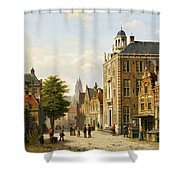 View Of A Dutch Street In Summer Shower Curtain