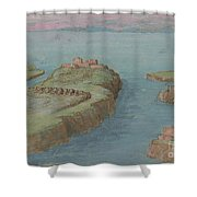 View Of A Fortified Headland Shower Curtain