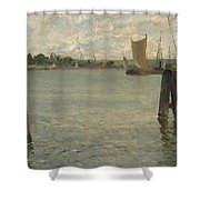 View Of A Harbour On The North Sea Shower Curtain