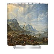 View Of A River With Boat Moorings Shower Curtain