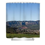 View Of A Village In Valley, Santa Shower Curtain