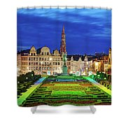 View Of Brussels From Jardin Du Mont Des Arts Shower Curtain by Barry O Carroll