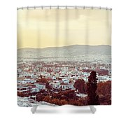 view of Buildings around Athens city, Greece Shower Curtain