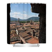View Of Buildings Through Window Shower Curtain