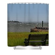 View Of Castle Pinckney During Tropical Storm Hermine Shower Curtain