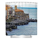 View Of Cefalu Sicily Shower Curtain