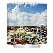 View Of Central Market Landmark In Phnom Penh City Cambodia Shower Curtain