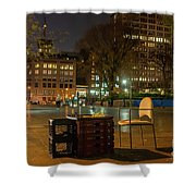 View Of Chess Board In The Middle Of Busy Sidewalk At Night Shower Curtain