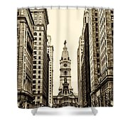 View Of Cityhall From Broad Street In Philadelphia Shower Curtain by Bill Cannon
