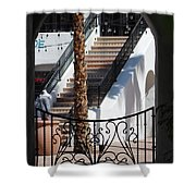 View Of Courtyard Through Adobe Doorway Photograph By Colleen Shower Curtain