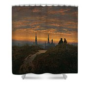 View Of Dresden At Sunset  Shower Curtain