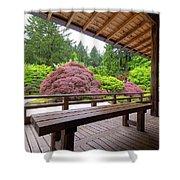 View Of Japanese Garden From The Veranda Shower Curtain