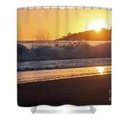 View Of Large Fishing Boat From The Beach At Sunset Shower Curtain
