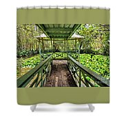 View Of Lily Pads From Gazebo By Kaye Menner Shower Curtain