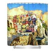 View Of Manarola Cinque Terre Shower Curtain