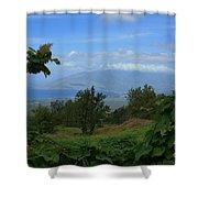 View Of Mauna Kahalewai West Maui From Keokea On The Western Slopes Of Haleakala Maui Hawaii Shower Curtain
