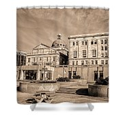 View Of Montgomery County Courthouse From The Southside In Sepia Shower Curtain