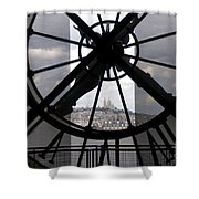 View Of Montmartre Through The Clock At Museum Orsay.paris Shower Curtain