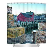 View Of Motif Through Lobster Pots Shower Curtain by Jeff Folger