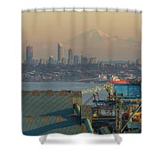 View Of Mount Baker And Vancouver Bc At Sunset Shower Curtain