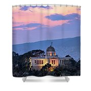 View Of National Observatory Of Athens In The Evening, Athens, G Shower Curtain
