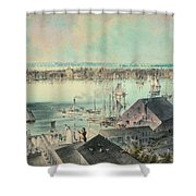 View Of New York From Brooklyn Heights Ca. 1836, John William Hill Shower Curtain