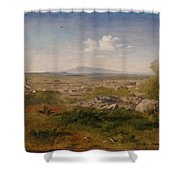 View Of Orange With Mont Ventoux Shower Curtain