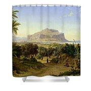View Of Palermo With Mount Pellegrino Shower Curtain by August Wilhelm Julius Ahlborn