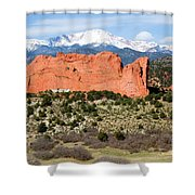 View Of Pikes Peak And Garden Of The Gods Park In Colorado Springs In Th Shower Curtain