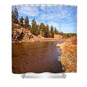 View Of River Around The Bend Shower Curtain