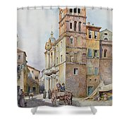 View Of Santa Maria In Monticelli, Rome  Shower Curtain