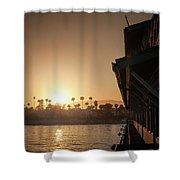 View Of Setting Sun Over Santa Barbara, Ca Shower Curtain