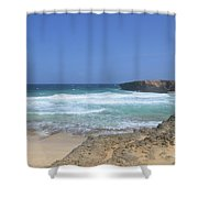 View Of Small Aruba Rock Formation On Boca Keto Shower Curtain