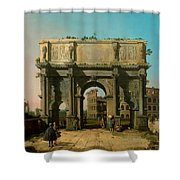 View Of The Arch Of Constantine With The Colosseum Shower Curtain