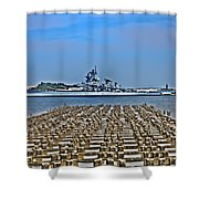 View Of The Battleship New Jersey From Philadelphia Shower Curtain