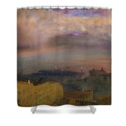 View Of The Bay Of Naples With Vesuvius Smoking In The Distance Shower Curtain